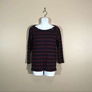 J. Crew Factory Burgundy and Navy Striped Top